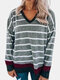 Contrast Color Patchwork Striped Print V-neck Casual T-Shirt For Women - Gray