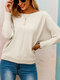 Solid Color Long Sleeve Knitted Casual Sweatshirt For Women - Beige