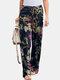 Floral Printed Elastic Waist Straight-Legged Pants For Women - Navy
