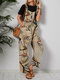 Abstract Portrait Print Pocket Sleeveless Cami Casual Jumpsuit For Women - Khaki