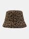 Women Cotton Leopard Pattern Print Fashion All-match Sunscreen Bucket Hat - Brown