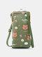 Casual Cute Animal Print Pattern 6.5 Inch Phone Bag Crossbody Bag Card Case - Green