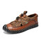 Men Closed Toe Mesh Splicing Outdoor Microfiber Leather Sandals - Brown