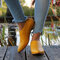 Women Comfy Retro Solid Color Pointed Toe Back Zipper Casual Flats - Yellow