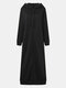 Повседневная длинная куртка с капюшоном и сплошными цветными карманами на молнии Платье - Черный
