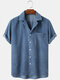 Mens Corduroy Solid Color Loose Casual Lapel Collar Short Sleeve Shirts - Blue
