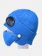 Men & Women Plus Velvet Thick Warm Neck Face Ear Protection Headgear Knitted Hat Mask Pilot Glasses - Blue