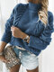 Solid Color High Neck Knit Pullover Tunic Sweater For Women - Blue