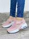 حذاء نسائي كاجوال نقي اللون خطاف وحلقة محبوكة وسادة هوائية للمشي - زهري