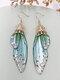 Vintage S925 Sterling Silver Butterfly Long Cicada Wings Gradient Earrings - 7