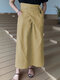 Casual Solid Color Pockets Knotted High Waist Cotton Skirt - Khaki