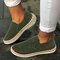 LOSTISY Women Casual Breathable Hollow Solid Color Flat Loafers - Green