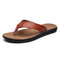 Men Brief Microfiber Leather Hard Wearing Casual Clip Toe Slippers - Brown