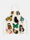 تنظيف بنمط الفراشة Colorful مآزر الطبخ المنزلي مريلة المطبخ للطبخ ارتداء مرايل الكبار من القطن والكتان - #01