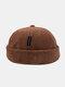Unisex Corduroy Letter Pattern Label Fashion Warmth Brimless Beanie Landlord Cap Skull Cap - Brown