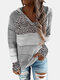 Leopard Print Patchwork Long Sleeve Knitted Plus Size Hoodie - Grey