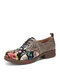 SOCOFY Floral Printed Embossed Cowhide Leather Comfy Round Toe Lace Up Casual Flat Shoes - Black