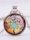 Vintage Gemstone Glass Printed Women Necklaces Landscape Tree Pendant Necklaces - #05