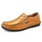 Men Hand Stitching Leather Non-slip Soft Sole Slip On Casual Shoes - Yellow Brown