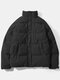 Mens Corduroy Solid Color Stand Collar Thick Casual Puffer Jacket - Negro