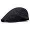 Cotton Embroidered Strip Pattern Artistic Young People Beret Cap Breathable Absorb Sweat Beret Hat - Black