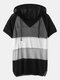 Contrast Color Short Sleeve Hooded Knitted Hollow Women Sweater - Black