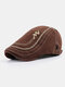 Men Cotton Letter Embroidery Cap Outdoor Leisure Wild Forward Hat Flat Cap - Coffee