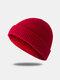 Bonnet unisexe en laine tricoté de couleur unie Casquettes de crâne Bonnets sans bord - rouge