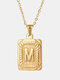 Vintage Gold Square Stainless Steel Letter Pattern Pendant - M