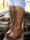Plus Size Women Casual Lace-up Square Toe Chunky Heel Comfy Tooling Boots - Brown