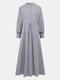 Solid Color Button Long Sleeve Stand Collar Maxi Dress - Gray