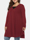 Plain Fake Two-piece Pleated Long Sleeve Casual Plus Size  Irregular Dress - Wine Red