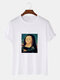 Mens Funny Mona Lisa Print Casual Loose Light Round Neck T-Shirts - White