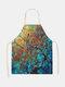 木と鳥の絵のパターンのクリーニングColorfulエプロン家庭料理キッチンエプロンクックウェアコットンリネン大人のよだれかけ - #11
