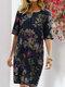 Blumendruck Split O-Ausschnitt Halbarm Casual Cotton Kleid - Marine