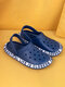 Women Lightweight Hollow Out Garden Shoes Classic Clog Shoes Slip On Beach Water Shoes Breathable Non-Slip Beach Sandals - Navy