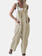 Wide Leg Adjustable Solid Color Casual Romper For Women