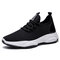 Men Knitted Fabric Comfy Breathable Running Sneakers - Black white