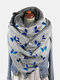 Women Dacron Colorful Butterfly Pattern Print With Buckle Casual Thicken Warmth Shawl Scarf - Gray