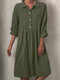 Solid Color Button High Waist Casual Dress For Women - Green