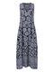 فستان طويل بدون أكمام بطبعة عرقية بجيوب Plus - أزرق