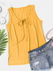 Solid Tie-up V-neck Plus Size Casual Tank Top - Yellow