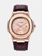 Alloy PU Leather Belt Business Calendar Quartz Watch - Brown