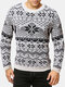 Mens Christmas Snowflake Pattern Knit Cotton Crew Neck Slim Fit Sweaters - White