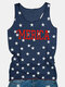 Stars Letters Print Sleeveless O-neck Casual Tank Top - Blue