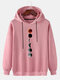 Mens Moon Graphic Print Solid Drawstring Casual Pullover Hoodie - Pink