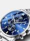 Business Full Steel Men Quartz Wristwatch Waterproof Date Clock Men Watch - Blue Dial Silver Steel Band