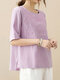 Floral Embroidery Solid O-neck Loose Half Sleeve Vintage T-shirt - Purple