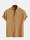Designer Mens 100% Cotton Breathable Solid Bandage Front Short Sleeve Henley Shirts - Yellow