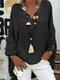 Langärmlige, einfarbige, lose Bluse mit V-Ausschnitt für Damen - Schwarz